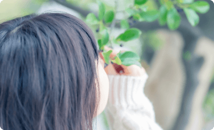 子供が植物に触れている写真